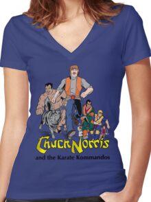Chuck Norris and the Karate Kommandos - FullTeam - Black Font Women's Fitted V-Neck T-Shirt