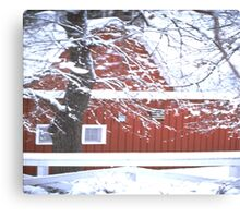 Winter Barn Scene Canvas Print