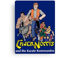 Chuck Norris and the Karate Kommandos - Full Team - White Font Canvas Print