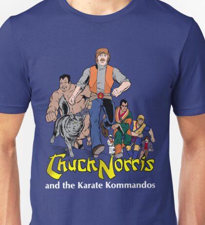 Chuck Norris and the Karate Kommandos - Full Team - White Font Unisex T-Shirt
