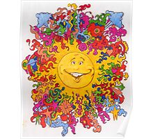 Psychedelic Happy Sun Poster