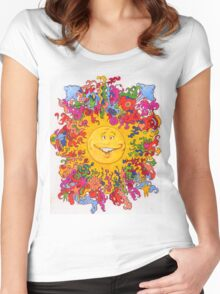 Psychedelic Happy Sun Women's Fitted Scoop T-Shirt