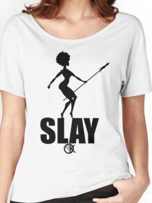 OKAYI GOTIT SLAY Black Women's Relaxed Fit T-Shirt