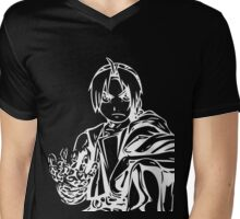 Edward from the Anime/Manga Fullmetal Alchemist White Vector Illustration  Mens V-Neck T-Shirt