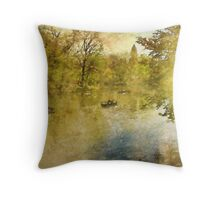 Boats on New York City's Central Park Lake  Throw Pillow