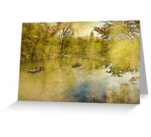 Boats on New York City's Central Park Lake  Greeting Card