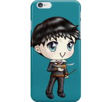 Cute H. Potter With A Golden Snitch in a Gryffindor Uniform (Hand-Drawn Illustration) iPhone Case/Skin