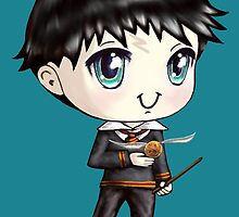 Cute H. Potter With A Golden Snitch in a Gryffindor Uniform by TheBeanStudio