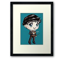 Cute H. Potter With A Golden Snitch in a Gryffindor Uniform (Hand-Drawn Illustration) Framed Print