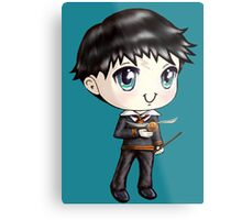 Cute H. Potter With A Golden Snitch in a Gryffindor Uniform (Hand-Drawn Illustration) Metal Print