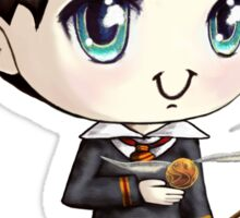 Cute H. Potter With A Golden Snitch in a Gryffindor Uniform (Hand-Drawn Illustration) Sticker
