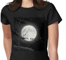 Moon Bath, birds on a wire, harvest moon Womens Fitted T-Shirt