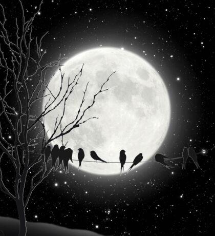 Moon Bath, birds on a wire, harvest moon Sticker