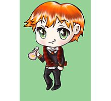 Cute Ron Weasley in a Gryffindor Uniform Holding a Potion (Hand-Drawn Illustration) Photographic Print