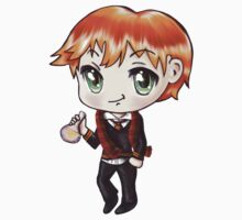Cute Ron Weasley in a Gryffindor Uniform Holding a Potion (Hand-Drawn Illustration) Kids Tee