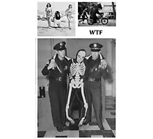 WTF - Threesome penguin bear and cops Photographic Print