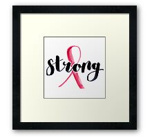 Breast Cancer Ribbon | Modern Calligraphy Framed Print