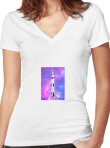Saturn V Tribute Women's Fitted V-Neck T-Shirt