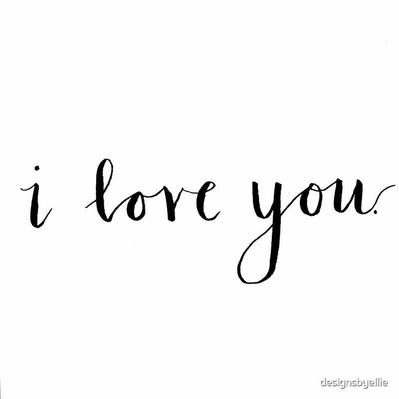 Quot i love you modern calligraphy stickers by