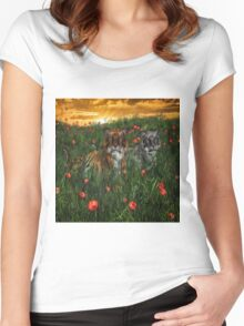Tiger's In The Poppies  Women's Fitted Scoop T-Shirt