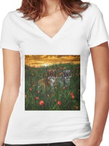 Tiger's In The Poppies  Women's Fitted V-Neck T-Shirt