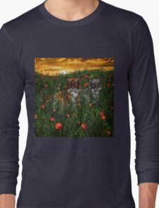 Tiger's In The Poppies  Long Sleeve T-Shirt