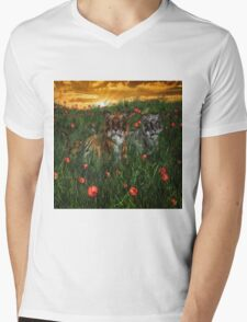 Tiger's In The Poppies  Mens V-Neck T-Shirt