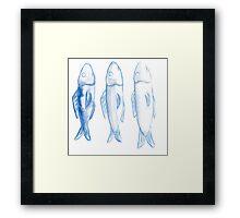 three watercolor fish Framed Print