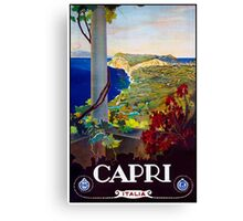 Capri Italy, Vintage Travel Poster Canvas Print
