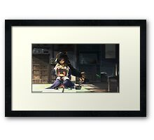 Anime Girl Sewing Framed Print