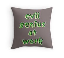 evil genius at work Throw Pillow