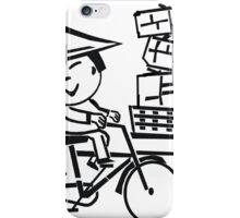 Cartoon of smiling Asian man on bicycle with parcels iPhone Case/Skin