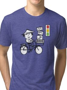 Cartoon of smiling Asian man on bicycle with parcels Tri-blend T-Shirt