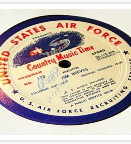Jim Reeves, Country Music Time, USAF LP  Sticker