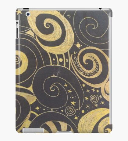 Black and Gold drawing iPad Case/Skin
