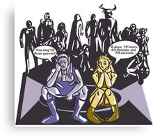 Dark Elf and Wood Elf At Camp Waiting For Boss: Everquest MMORPG funny Comic-Style Hand-Drawn Illustration  Canvas Print