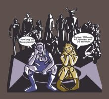 Dark Elf and Wood Elf At Camp Waiting For Boss: Everquest MMORPG funny Comic-Style Hand-Drawn Illustration  One Piece - Short Sleeve