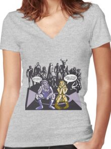 Dark Elf and Wood Elf At Camp Waiting For Boss: Everquest MMORPG funny Comic-Style Hand-Drawn Illustration  Women's Fitted V-Neck T-Shirt