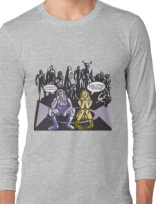 Dark Elf and Wood Elf At Camp Waiting For Boss: Everquest MMORPG funny Comic-Style Hand-Drawn Illustration  Long Sleeve T-Shirt