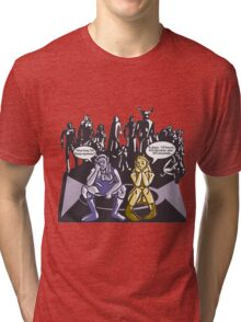 Dark Elf and Wood Elf At Camp Waiting For Boss: Everquest MMORPG funny Comic-Style Hand-Drawn Illustration  Tri-blend T-Shirt