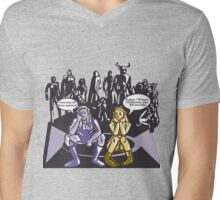 Dark Elf and Wood Elf At Camp Waiting For Boss: Everquest MMORPG funny Comic-Style Hand-Drawn Illustration  Mens V-Neck T-Shirt
