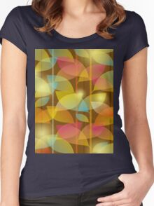 seamless pattern of colored leaves Women's Fitted Scoop T-Shirt