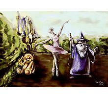 A Ballerina, Wizard, and Teddy Bear in a Children's Fairytale digital painting Photographic Print