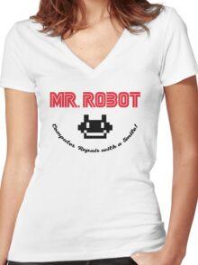 Mr. Robot logo Women's Fitted V-Neck T-Shirt
