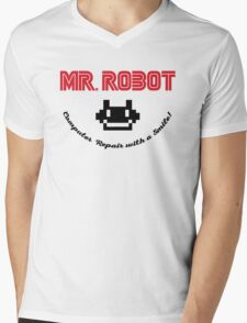 Mr. Robot logo Mens V-Neck T-Shirt