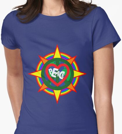Peace on earth (sun, bird, heart, rainbow, peace sign) Womens Fitted T-Shirt