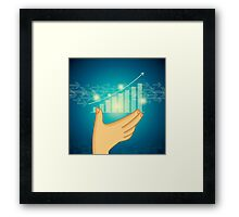 business graph on a glass window Framed Print