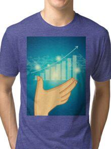 business graph on a glass window Tri-blend T-Shirt