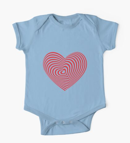 Red heart optical illusion 3d One Piece - Short Sleeve