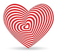 Red heart optical illusion 3d Photographic Print